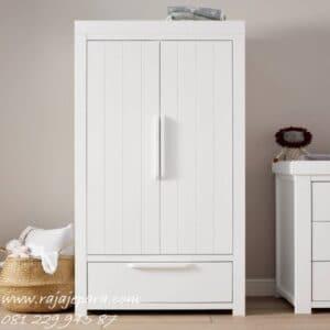 Lemari pakaian anak terbaru minimalis mewah modern klasik model desain 2 pintu warna putih cat duco laci kayu Jepara laki perempuan harga murah