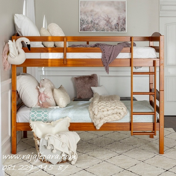 Tempat tidur tingkat anak minimalis mewah modern klasik kayu jati Jepara model desain set kamar perempuan dan laki-laki 2 susun harga murah