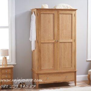 Harga lemari pakaian anak murah minimalis mewah modern klasik terbaru model desain 2 pintu dan laci kayu jati Jepara perempuan dan laki-laki