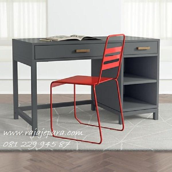 Meja belajar hitam minimalis mewah modern dan klasik terbaru model desain kayu jati cat duco Jepara anak perempuan dan laki-laki harga murah