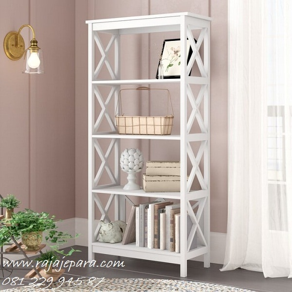 rak buku kayu sederhana minimalis murah