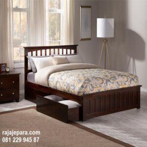 Tempat tidur anak berlaci minimalis mewah modern klasik terbaru untuk perempuan dan laki-laki model desain laci bawah kayu jati Jepara harga murah