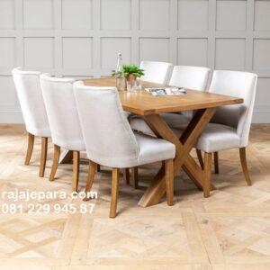 Meja makan minimalis terbaru 2020 kayu jati Jepara model desain contoh ruang set 6 kursi modern dan mewah klasik top kaca unik harga murah