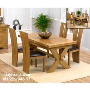 Meja makan minimalis unik kayu jati Jepara set 4 kursi model desain ruang furniture dapur mewah dan klasik terbaru top kaca harga murah