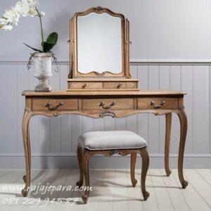 Harga meja rias kayu jati Jepara model desain set kursi plus kaca cermin mewah klasik modern dan minimalis harga murah