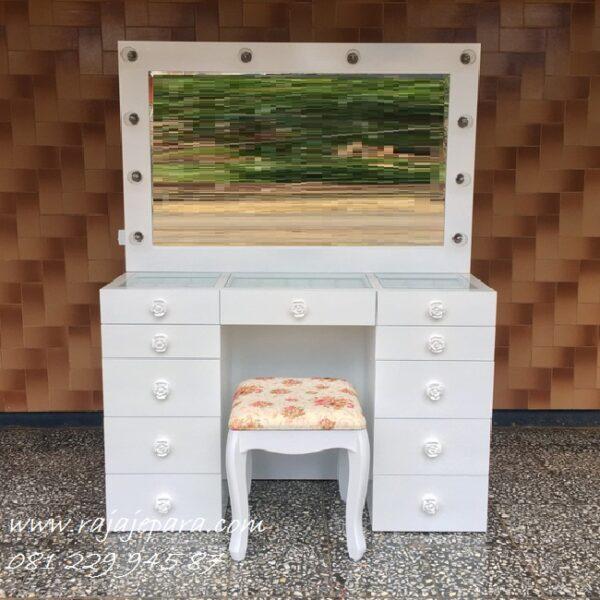 Harga meja rias lampu LED murah dari material kayu mahoni cat duco warna putih model desain set kursi kaca cermin minimalis modern terbaru