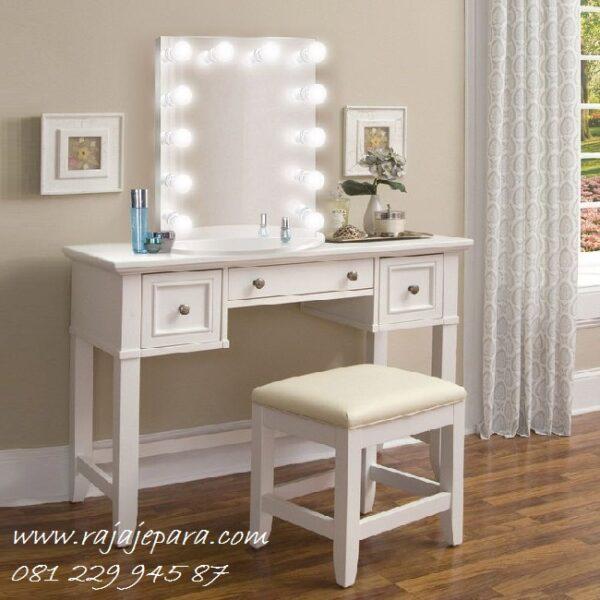 Harga meja rias minimalis lampu puih model desain set kursi dan kaca cermin mewah modern dan klasik terbaru anak perempuan harga murah