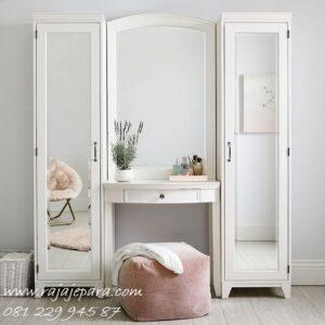 Lemari meja rias minimalis model desain sekaligus + set kursi dan kaca cermin warna putih cat duco plus almari baju gandeng modern harga murah