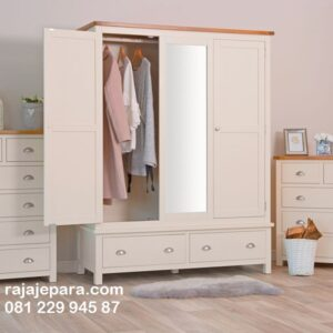 Lemari pakaian gantung kaca minimalis mewah modern terbaru warna putih cat duco 3 pintu model desain almari baju gantungan besi harga murah