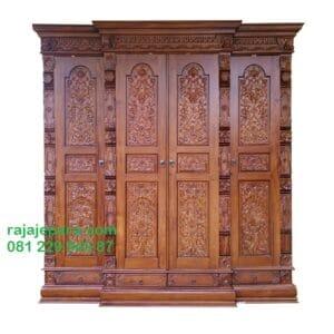 Lemari pakaian gebyok 4 pintu kayu jati Jepara model desain almari baju ukir-ukiran mewah dan klasik kuno terbaru harga murah