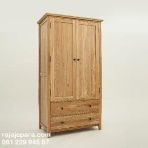 Lemari pakaian harga murah minimalis kayu jati Jepara model desain almari baju 2 pintu dan dua laci mewah dan klasik terbaru