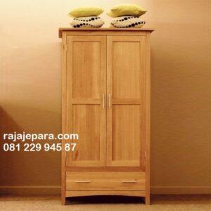 Lemari pakaian kayu jati minimalis 2 pintu model desain almari anak dan dewasa solid Jepara sliding kaca atau biasa mewah klasik laci harga murah