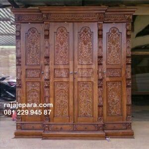 Lemari pakaian kayu jati gebyok ukir 4 pintu model desain almari baju ukiran mewah klasik dan kuno antik terbaru Jepara harga murah