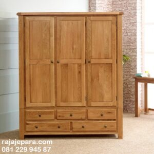 Lemari pakaian klasik minimalis kayu jati Jepara model desain almari baju 3 pintu dan 5 laci classic modern dan kuno terbaru harga murah