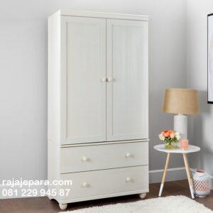 Lemari pakaian laci model minimalis 2 pintu desain almari baju warna putih cat duco untuk anak dan dewasa mewah modern dan terbaru harga murah