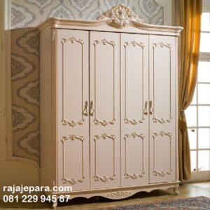 Lemari pakaian mewah ukiran Jepara 4 pintu warna putih cat duco model desain almari baju minimalis modern terbaru jati harga murah