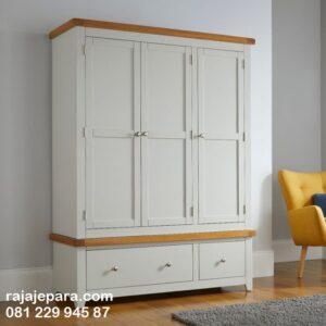 Lemari pakaian minimalis 3 pintu harga murah model desain almari baju dewasa warna putih pintu cat duco pintu kaca cermin modern gantung terbaru