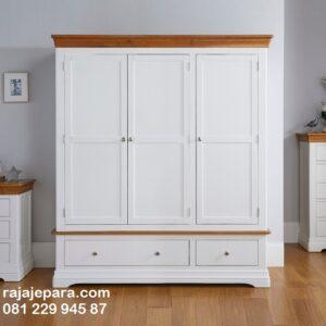 Lemari pakaian minimalis modern desain terbaru model almari baju 3 pintu dan 2 laci warna putih cat duco gantung kayu kaca harga murah