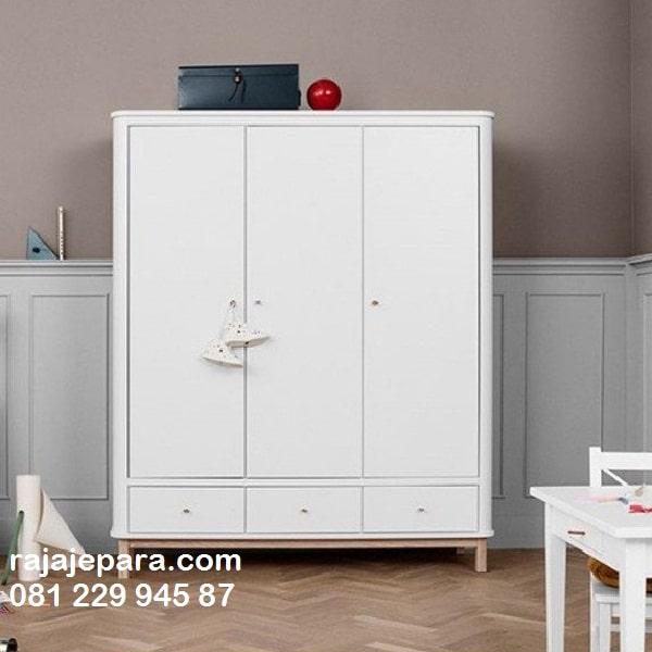Lemari pakaian model terbaru minimalis modern dan klasik warna putih cat duco 3 pintu kayu Jepara desain almari baju 2020 harga murah