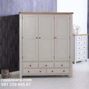 Lemari pakaian modern 3 pintu terbaru model desain almari baju bawah laci minimalis klasik mewah warna putih cat duco kayu Jepara harga murah