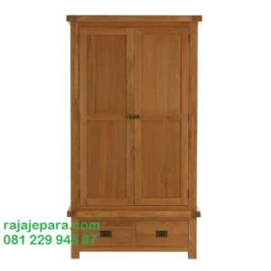 Lemari pakaian murah di Jakarta Bandung Dan Surabaya asli produk furniture Jepara model desain almari baju 2 pintu kayu jati minimalis harga murah