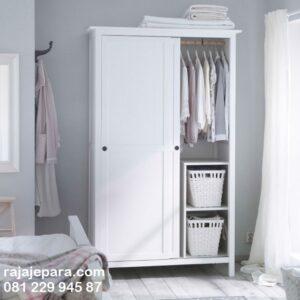 Lemari pakaian pintu sliding minimalis kaca model desain almari baju 2 pintu geser dorong warna putih cat duco modern terbaru harga murah