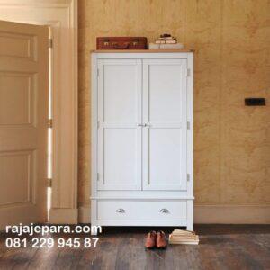 Lemari pakaian putih minimalis mewah modern dan klasik terbaru model desain almari baju warna putih 2 pintu kaca atau kayu Jepara harga murah