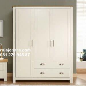 Lemari pakaian sederhana kayu mahoni warna putih 3 pintu model desain almari baju 2 laci minimalis mewah modern dan klasik terbaru harga murah