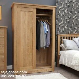 Lemari pakaian sliding 2 pintu minimalis mewah dan klasik model desain almari baju geser door kayu jati Jepara atau full kaca cermin harga murah