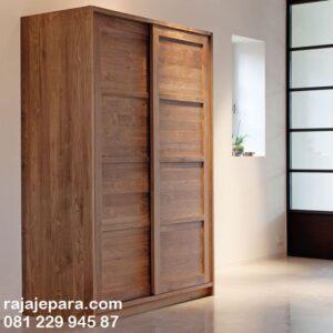Lemari pakaian sliding door 2 pintu kayu jati Jepara model desain almari baju minimalis mewah modern dan klasik terbaru geser gantung harga murah