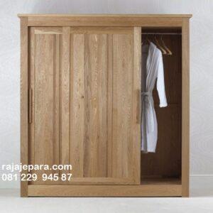 Lemari pakaian sliding jati minimalis mewah dan klasik terbaru model desain almari baju 2 pintu geser kayu Jepara gantung harga murah