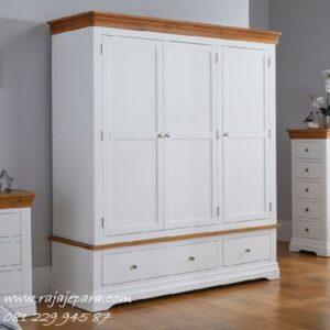 Lemari pakaian terbaru 2020 minimalis modern dan klasik model baru desain almari baju 3 pintu cat duco warna putih kayu Jepara harga murah