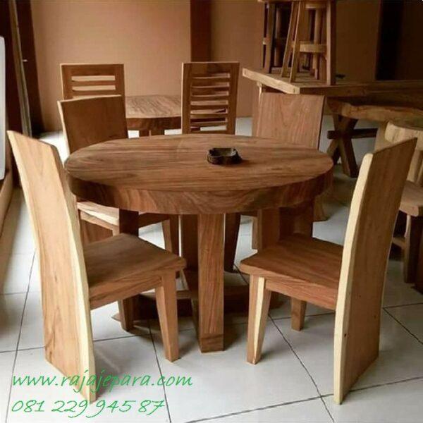 Meja makan trembesi bundar 4 kursi bulat kaki dari kayu utuh besar dan tebal Jepara model desain furniture minimalis klasik harga murah