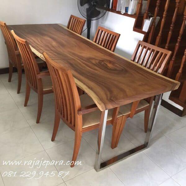Meja makan trembesi Jepara 6 kursi kayu besar utuh model desain furntiure ruang dapur minimalis mewah klasik terbaru kaki stainlees harga murah