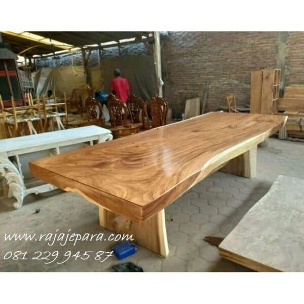 Meja makan trembesi kayu utuh minimalis harga murah model desain meja meeting dan rapat klasik modern terbaru kaki kayu besar solid