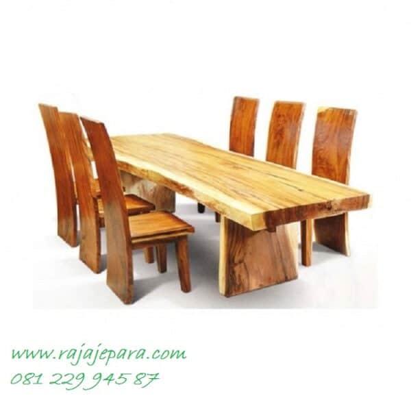 Meja makan trembesi minimalis kayu besar utuh solid Jepara harga murah set 6 kursi model desain furniture ruang dapur klasik dan terbaru