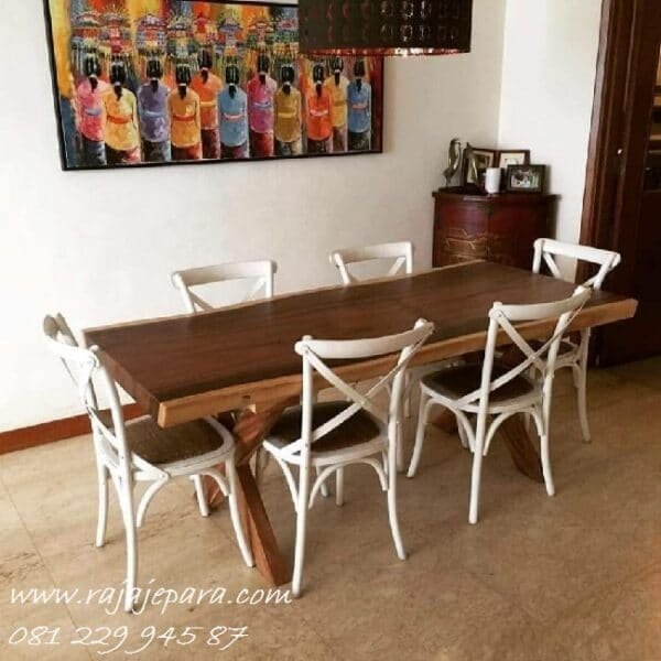 Meja makan trembesi modern minimalis 6 kursi model lengkung unik putih desain furniture dapur klasik terbaru kayu utuh besar harga murah