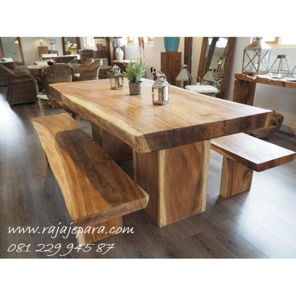 Meja makan trembesi murah minimalis kayu utuh tebal dan besar Jepara model desain 2 bangku panjang klasik terbaru Bandung Jakarta harga murah