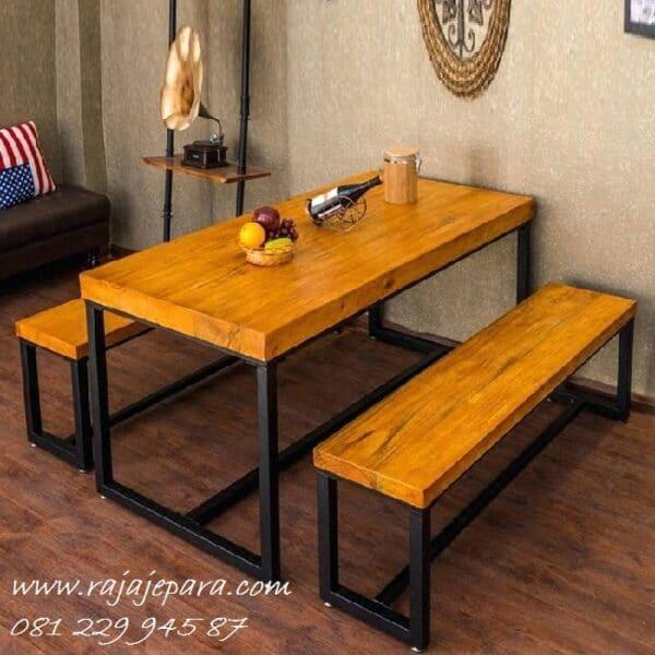 Meja makan trembesi untuk cafe harga murah set 2 kursi bangku panjang kaki besi model desain minimalis klasik vintage dan retro terbaru