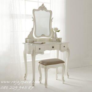 Meja rias Jepara ukiran mewah warna putih cat duco kayu mahoni dan jati ukir asli model desain furniture minimalis modern terbaru harga murah