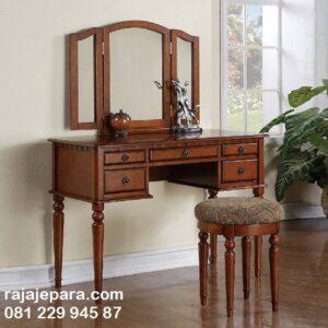 Meja rias kayu jati minimalis mewah modern dan klasik terbaru model desain set kursi bulat kaca cermin lipat dan laci Jepara harga murah
