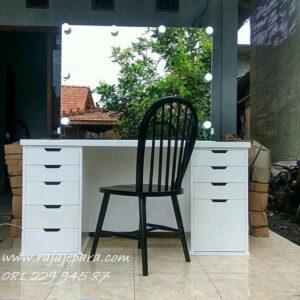 Meja rias lampu LED minimalis mewah modern dan klasik terbaru warna putih cat duco model desain set kursi kayu Jepara laci kecil harga murah