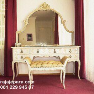Meja rias mewah modern elegan dan klasik model desain set kursi jok emas dan kaca cermin kayu ukir Jepara luxury terbaru harga murah
