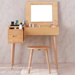 Meja rias mini minimalis kayu jati Jepara model set kursi bulat dan kaca cermin lipat desain modern dan klasik sederhana harga murah
