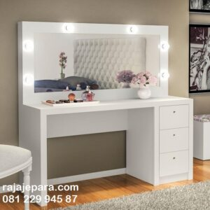 Meja rias minimalis modern lampu LED putih cat duco model mewah desain terbaru kaca cermin kayu jati dan mahoni Jepara harga murah