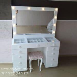 Meja rias minimalis lampu harga murah warna putih cat duco model mewah modern dan klasik terbaru desain set kursi dan kaca cermin