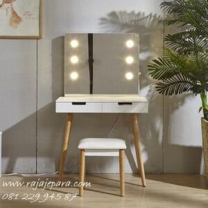 Meja rias minimalis modern lampu LED model desain set kursi dan kaca cermin mewah dan klasik kecil mini sederhana jati Jepara harga murah