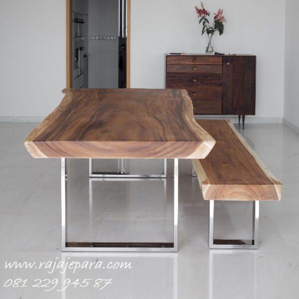 Set meja makan trembesi kaki stainlees minimalis harga murah model desain furniture modern dan mewah terbaru 2 bangku kursi panjang
