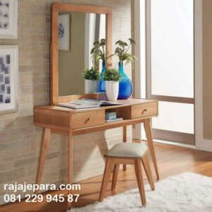 Meja rias murah kayu jati Jepara model desain set kursi kaca cermin minimalis klasik laci di Jakarta Bandung Jogja Surabaya harga murah meriah