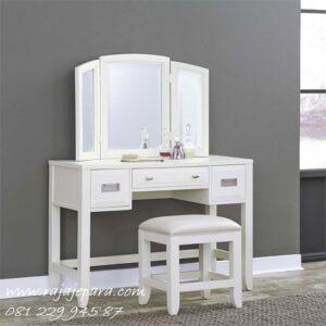 Meja rias putih harga murah model desain set kursi dan kaca cermin lipat minimalis modern dan klasik warna terbaru cat duco lampu laci sliding